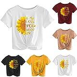 TUDUZ T-Shirt Damen Sommer Kurzarm O-Ausschnitt Rose Drucken Weste Tops Bluse (W-Schwarz, L)