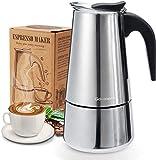 Espressokocher, Kaffeekocher, Godmorn Mokkakanne aus 430 Edelstahl, Espresso Maker für 6 Tassen (300 ml), Stovetop Coffee Maker Induktion Herde geeig