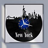 VCS New York Freiheitsstatue Landschaft Thema 10 ohne tickgeräusche Vinyl Schallplatte Vintage Wanduhr für Küche(B,12inchs Without LED)