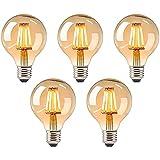 5 Stück Vintage Glühbirne,E27 Led Filament Birne,Antike Filament Beleuchtung,Birne Antike Filament Beleuchtung, LED Lampe Warmweiß,LED Vintage Glühbirne,Retro Lampe