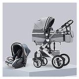 YXCKG Kinderwagen 3 In 1, Luxus-Kinderwagen Buggy-Spaziergänger, High View Pram Baby-Spaziergänger, 0-3 Jahre Baby, Muttertasche (Color : Gray)