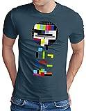 OM3® Testbild-Tetris T-Shirt - Herren - Video Game Analog Fernseher TV - Denim, M