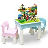 N&O Renovierung Hausbau Aktivitätstisch Früherziehung Puzzle Kunststoff Bautisch Set Multifunktions Kinderspielzeug Spieltisch Montage Lerntisch Blau Multifunktionstisch