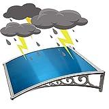 WXQIANG Markise Regen Tür Canopy Außen Rainboard Sonnenschutz Anti-UV-Multiwinddichtes Flammenhemmende Anti-Aging, PC Endurance Vorstand (Color : Blue, Size : 120CMX60CM)