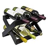 PandaGrip Weinregal aus Bambus, faltbar, freistehend und Arbeitsplatte, Weinregal, 2 Etagen, schwarz, für 6 Flaschen