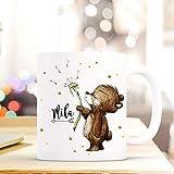 ilka parey wandtattoo-welt Tasse Becher mit Bär Bärchen & Pusteblume Geschenk mit Tiermotiv Kaffeetasse Bärchentasse mit Namen Wunschnamen Kaffeebecher ts777