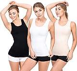 UnsichtBra 3er Pack Longshirt Damen Unterhemden   Basic Wohlfühl Mikrofaser Damen Top ohne Bügel   Unterhemd Damen Weiss Schwarz Beige (Schwarz,Weiss,Beige, L-XL)