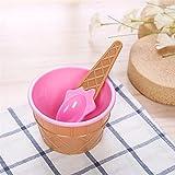 Neue Farbe Eisbecher & Löffel Geschenk für Kinder Dessert Eisbecher Eisbecher Werkzeugbecher Hochwertige Plastikschüssel Löffel-Frankreich,rosa