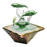 LOMJK Küche Haushalt Wohnen Zimmerbrunnen Indoor Entspannung Brunnen, Keramik-Wasser-Brunnen Desktop-Innen Luftbefeuchtung Beleuchtet Wasserfall automatische Pumpen-Brunnen, Feng Shui-Ball-Geschenk