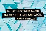 Lustige Geburtstagskarte'Faltiger Sack' für Männer als witzige Postkarte (Ohne Umschlag)