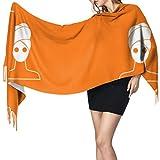 Niedliche Cartoon-Maske, Hautpflegeprodukte, Damen-Schal, leicht, 196 x 68 cm, groß, weich, extra warm