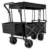 ZQW Handwagen Klappbar, Gartenwagen Transportwagen Abnehmbarer Baldachin 600D Oxford-Stoff, Übergroße Räder Tragbar Klappwagen Verstellbarer Griff