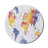Modernes Mauspad für Computer, Weltkarte im Aquarellstil mit Kontinenten und Kompass Abstrakter Land-Kunstdruck, rundes rutschfestes dickes Gummi Modernes Gaming-Mousepad, 8 'rund, mehrfarbig