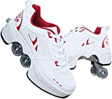 PUBJ 2-in-1 Multifunktionale Deformierte Schuhe Kinder Studenten Erwachsene Roller Skating Rollschuhe Outdoor Sports Skating Reisen Schlittschuhe Schuhe mit Rädern Unisex Schuhe mit Rad 39
