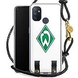 DeinDesign Carry Case kompatibel mit OnePlus N100 Hülle mit Kordel aus Leder Handykette zum Umhängen schwarz Gold Logo Offizielles Lizenzprodukt SV Werder Bremen