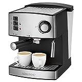 Clatronic ES 3643 Espresso- und Cappuccino-Automat, Edelstahlfront, 15 bar Pumpdruck, 1,6 Liter Wasserstand, Tassenvorwärmfunktion, Schwenkbare Edelstahldampfdüse mit Aufschäum- und Heißwasserfunk