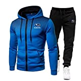 Woakzhe Herren Trainingsanzug Sets, Sportbekleidung Männer, Su.b-a.ru Bedruckter Jogging Anzug, Klassischer Basketball Kapuzenjacke Hose (Blue,M)