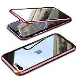 Hülle Für iPhone SE 2020/iPhone 7/8,Magnetische Adsorption Metallrahmen Handyhülle,Einteiliges 360 Grad Komplettschutz Ultra Dünn Gehärtetem Glas Schutzhülle Flip Cover,Rot