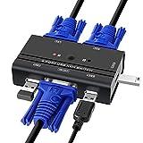 TCNEWCL KVM Switch Mit 2 KVM Kabeln, KVM Umschalter für USB und VGA Monitor, für Laptop PC Windows Linux Mac System, Tastatur/Maus/Monitor Geteilt