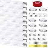 Chesbung Kabelkanal Selbstklebend 0.4m, 10er Pack Kabelkanal, Mini Kabel Verstecken, Kabelschacht zum Verstecken von Kabel, Kabelkanal Selbstklebend Weiss für alle Netzkabel in Haushalt/Büro