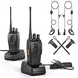 Walkie Talkie 2 x Funkgerät Set, wiederaufladbares VOX Radio PMR 1500 mAh 6 km Reichweite , Sprechfunkgerät mit LED Taschenlampe und Headset