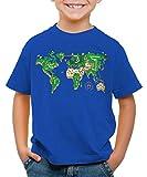 style3 Mario Weltkarte T-Shirt für Kinder super Videospiel Konsole SNES n64, Größe:128