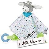 Sterntaler Kuscheltuch / Schmusetuch mit Namen Bestickt, Einschlafhilfe Schnuffeltuch Baby & Kinder personalisiert (Esel Erik)