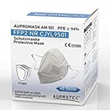 AUPROTEC 40 Stück FFP2 Maske Aupromask AM-101 Atemschutzmaske EU CE 0598 Zertifiziert EN149:2001+A1:2009 Mundschutz 5 lagig Premium Vlies DERMATEST 01/2021 *Sehr Gut* einzeln verpackt