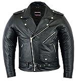 Brando Style Motorrad-Lederjacke, Größe XL, Schwarz