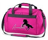 Reittasche mit Namensdruck personalisiert   Motiv aufsteigendes Pferd mit Name   Trage- und Sporttasche für Mädchen zum Reiten in vielen Farben verfügbar (pink)