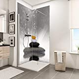 Schulte Duschrückwand Zen-Steine Grau über Eck, 2 x 90x210 cm, Wandverkleidung aus Alu-Dibond als fugenloser F