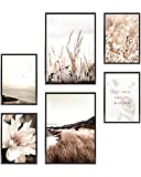 Heimlich® Premium Poster Set OHNE Bilderrahmen | Stilvolles Set mit passenden Bilder als Wohnzimmer Deko | 2 x DIN A3 & 4 x DIN A4 - ca. 30x42 & 21x30 | » Meer Strand Blumen «