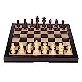 ZANZAN Brettspiele Hölzerner Schach-Set-faltendes Magnetisches Schach-Set Mit Massivem Holzbrett Und Handgefertigten Schachfiguren Für Kinder Schachset