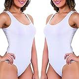 UnsichtBra 2er Set Body Damen Weiß | Komfortträger Damenbodys | Wohlfühl Body Damen Unterwäsche Weiss (2 x Weiss, L-XL)