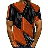 Qier Tshirt Herren Grafische Kurzarm-Oberteile, Baumwoll-T-Shirt, 3D-T-Shirts Mit Karodruck, Orange, M.
