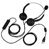 Fockety USB-Headset, Komfortables, langlebiges Headset mit Mikrofon, verstellbare Ohrenschützer für Computer