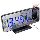 Longchun east Radiowecker mit Projektion mit Doppel-Alarmanlagen, digitale Uhr, USB, mit großem LED-Display, Snooze-Funktion, 180 ° drehbar, Wecker mit Projektion der Decke (C)
