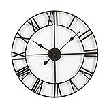 Große Wanduhr Im Vintage-Stil, Rund Metall Geräuschlos Nicht Tickend Batteriebetrieben, Schwarze Römische Ziffern, Uhren Für Wohnzimmer, Schlafzimmer, Küchendekoration 60cm / 50cm Schwarz Römische