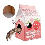 Cor Cordium PET Katzenhaus aus Karton, 54,9 cm hoch, Kratzpappe für Innenräume, inkl. Katzenminze, rosa Kratzbaum für Katzen / Kätzchen, Spielversteck