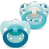 NUK Signature Schnuller | 0-6Monate | BPA-freier Schnuller aus Silikon | blaugrüne Sterne | 2Stück