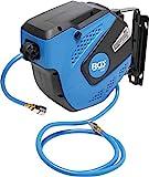 BGS 3297 | Druckluftschlauch mit Aufroller | automatisch | 10 m + 1,5 m Zuleitung | 180° schenkbar | inkl. Montagehalter | Schlauchaufroller | Druckluftschlauchtrommel