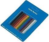 RS PRO Kabelmarkierung, Beschriftung: 0 → 9, Schwarz, Braun, Grün, Grau, Orange, Rot, Violett, Weiß, Gelb x, Packung a 150 Stück