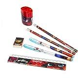 BWR Miraculous Ladybug 7-teiliges Schreibwaren-Set, Bleistifte, Stifte, Radiergummi, Lineal und Spitzer
