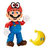 Jakks Pacific World of Nintendo Mario und Cappy mit gelbem Mond, Actionfigur Super Mario Bros, Höhe 10 cm, Figur Gelenk, Kunststoff