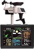 sainlogic Wetterstation Funk mit Außensensor, 8-in-1 Funk Wetterstation mit Wettervorhersage,Temperatur, Luftdruck, Luftfeuchtigkeit, Windmesser, Regenmesser, Mondphrase, Wecker