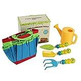 Lubudup Gartentasche kompakt,Aus Holz und Metall,Mit Gartenwerkzeugen, Gartenspielzeug Für Kinder ab Spielzeug,Geeignet Für Kinder von 3 bis 8 Jahren