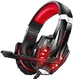 Igrome Gaming Headset mit Mikrofon, Stereo Bass Surround, LED Licht, Blau (Red)