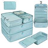 DIMJ 8 stück Koffer Organizer, Kleidertaschen Set für Reise mit Schuhtasche Kulturtasche Kabel Organizer (Blau)