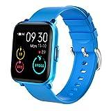 KUNGIX Smartwatch, Fitness Armband mit 18 Sportmodu Sehr Dünn Fitness Tracker Uhr Damen Herren Smart Watch mit Pulsuhren Kompass Sportuhr Wasserdicht 5ATM Armbanduhr für Android iOS (Hellblau)