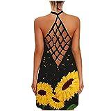 KIMODO Kleider Damenmode Sommerkleid Strandkleider Offenes Rücken O-Ausschnitt Freizeitkleid Sonnenblumenmuster Leibchen Hohles Abendkleid (E-Gelb, M)